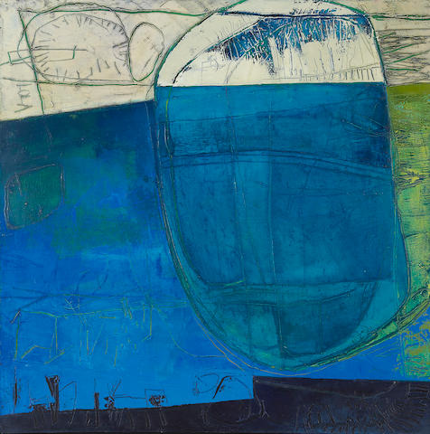 Paula Barragán (Ecuadorian, born 1963) Abstraction in blue, 2001 23 3/4 x 23 3/4in