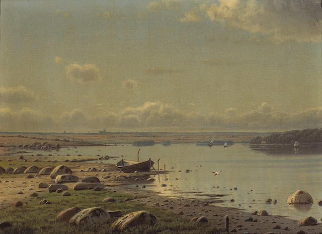 Danish School, 19th Century  A view of Roskilde Fjord from the village of Jyllinge, Denmark with Roskilde Domkirke in the distance 13 1/2 x 18 3/4in