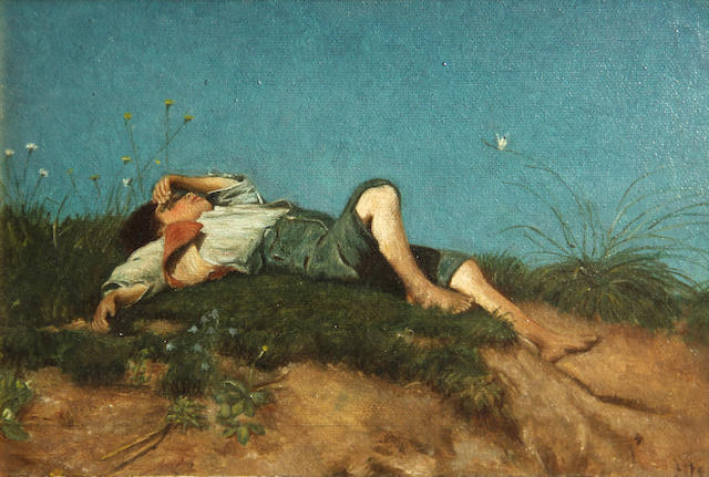American School (Late 19th/Early 20th Century) Boy resting on sand dunes 6 3/4 x 9 3/4in