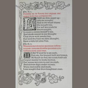 KELMSCOTT PRESS. Psalmi Penitentiales. Hammersmith: printed by William Morris at the Kelmscott Press, November, 1894..