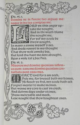 KELMSCOTT PRESS. Psalmi Penitentiales. Hammersmith: printed by William Morris at the Kelmscott Press, November, 1894.<BR />