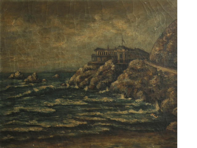 California School, 19th Century The first Cliff House, San Francisco 18 x 22in