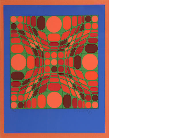 Victor Vasarely (Hungarian, 1906-1997); Untitled (Helios Blue with Circle);