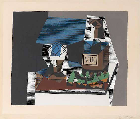 After Pablo Picasso (1881-1973); Bouteille et raisins;