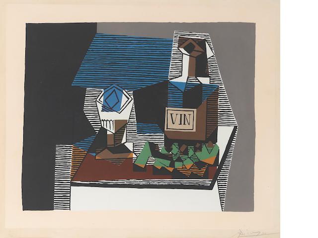 After Pablo Picasso, Bouteille et raisins, c.1920;