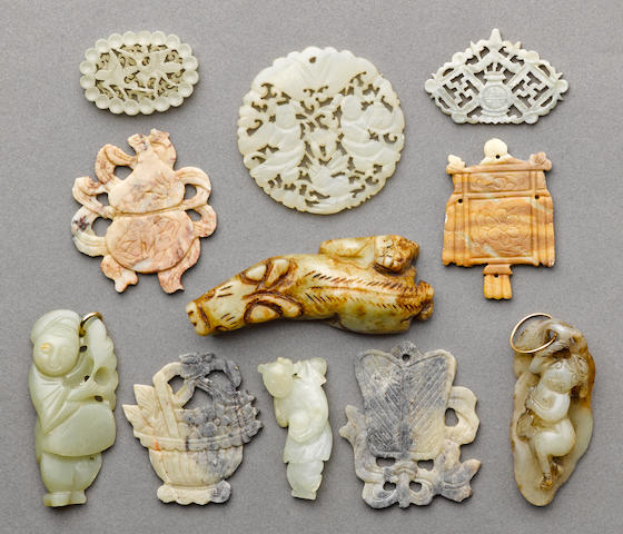 A group of eleven jade and hardstone carvings Qing dynasty and later