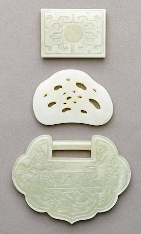 A group of three jade ornaments