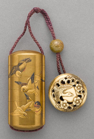 A gilt lacquer five-case inro 19th century