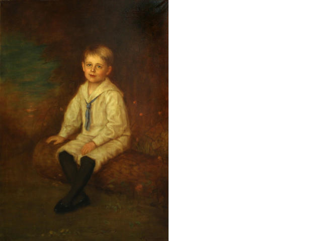 A oil on canvas painting of a young boy