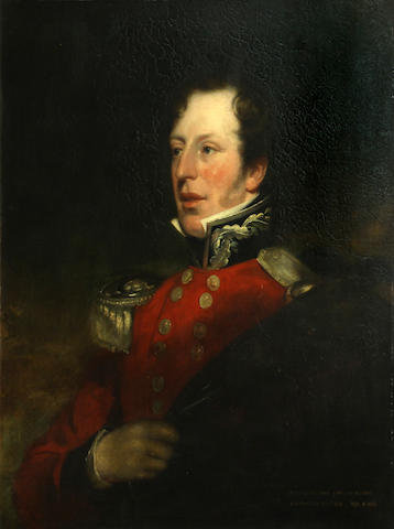 Follower of Sir Thomas Lawrence, Portrait of military officer, thought to be Philip Davis-Cooke, o/c (worn frame with small losses)