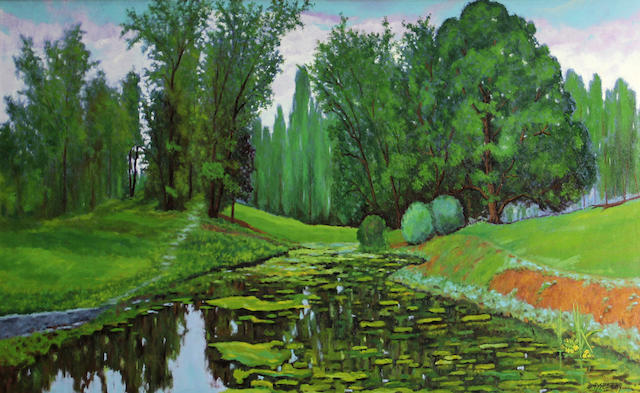 Jesse Don Rasberry (American, born 1940) Tildon pond 24 x 48in