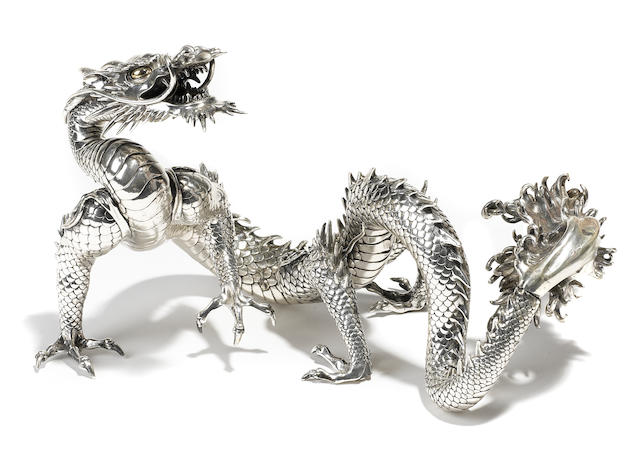A silver model of a dragon By Kazumi, Meiji period (late 19th-early 20th century)