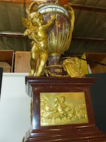 A superb Louis XVI style gilt bronze mounted marble urn form rotary clock on pedestal <BR />fourth quarter 19th century