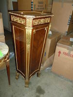 A Louis XVI style gilt bronze mounted mahogany and satinwood pedestal<BR />Emmanuel Zwiener   late 19th century