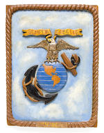 United States Marine Corps. Cloth flags and a plaque.<BR /> 1943-1945   3