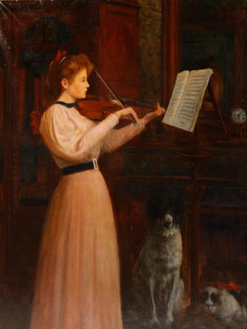 Léon Herbo (Belgian, 1850-1907) A woman playing a violin 57 1/2 x 45in