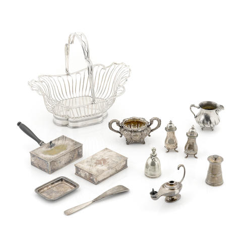 An assembled group of silverplate and silver tableware and accessories