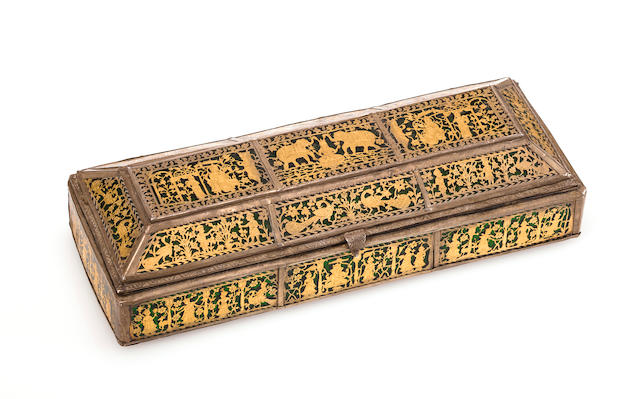 An Indian gold inlay annd green enamel desk writing box