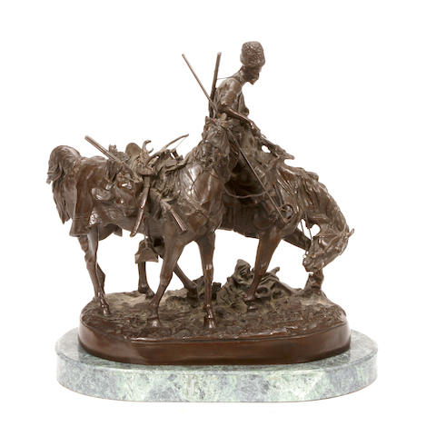 A Russian bronze figural group