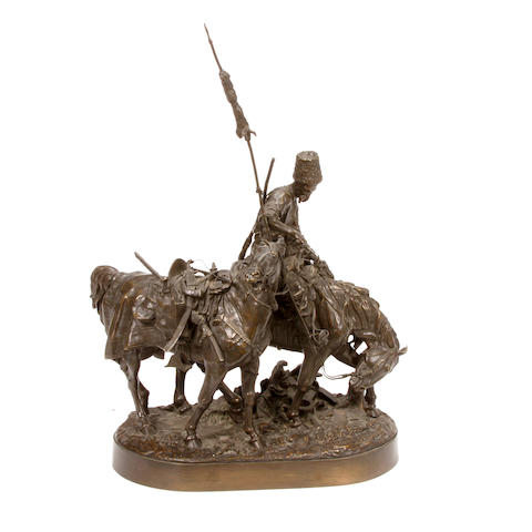 A Russian patinated bronze of Cossack After the Battle