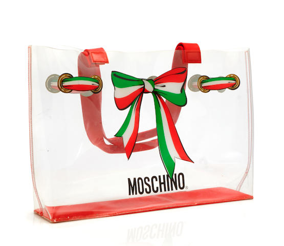 A Moschino clear tote bag
