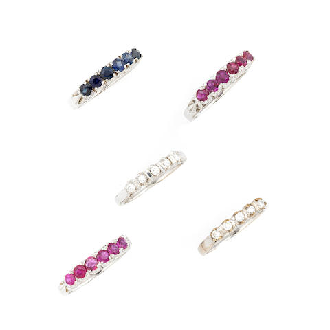 A group of five diamond, sapphire, ruby and 18k gold rings