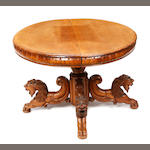 A Renaissance Revival carved walnut center table