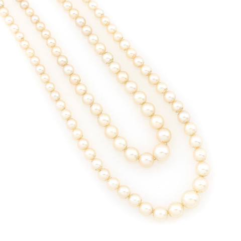 A double strand cultured pearl necklace with an art deco clasp