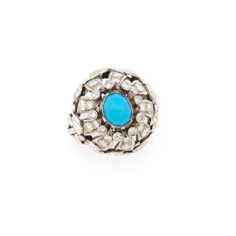 A turquoise, diamond and platinum ring