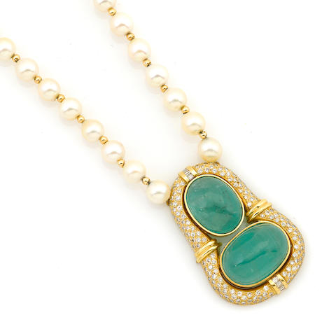 A diamond, emerald and gold cultured pearl necklace