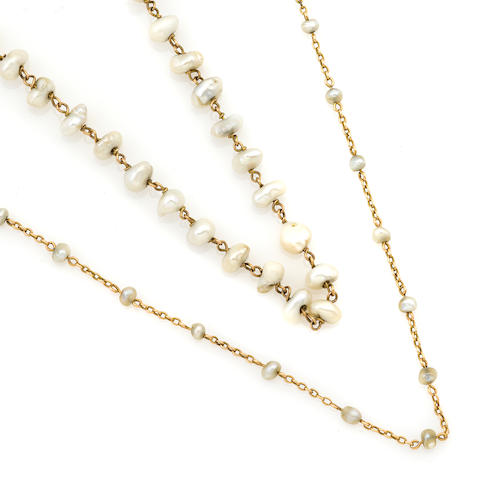 A group of two cultured pearl and gold necklaces
