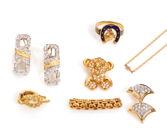 A group of diamond, enamel, gold and metal jewelry