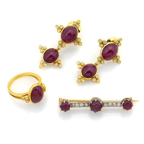 A group of ruby, diamond and 18k bicolor gold jewelry
