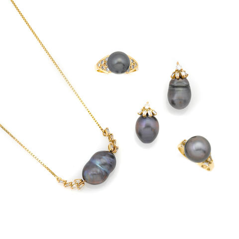 A group of colored cultured pearl, diamond and gold jewelry