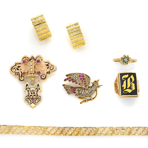 A group of gem-set, diamond and 10k gold jewelry items