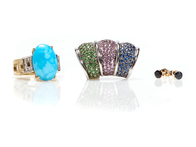 A group of gem-set and 14k gold jewelry