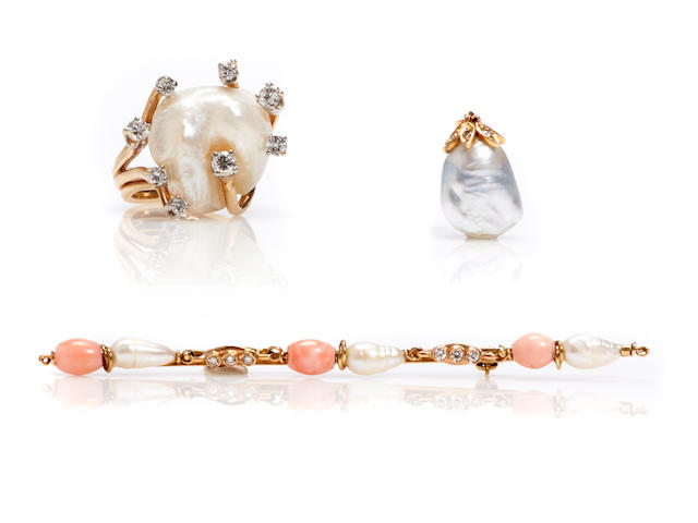 A group of cultured pearl, coral, diamond, 18k and 14k gold jewelry