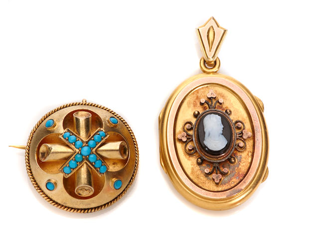 A group of two turquoise, cameo and 14k gold pendants