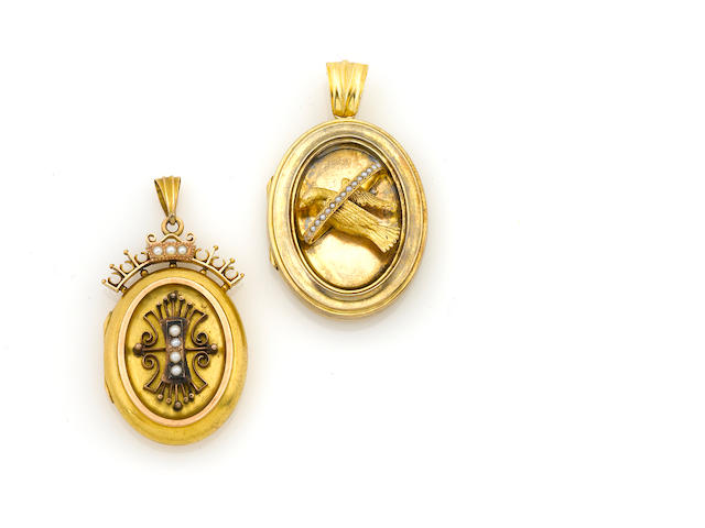 A group of two cultured pearl and gold locket-pendants