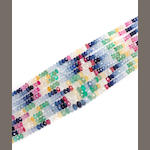 A multi-colored gem-set faceted bead multi-strand necklace