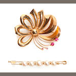 A collection of two pink stone, cultured pearl and 18k gold brooches