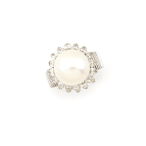 A cultured pearl, diamond and 18k white gold ring