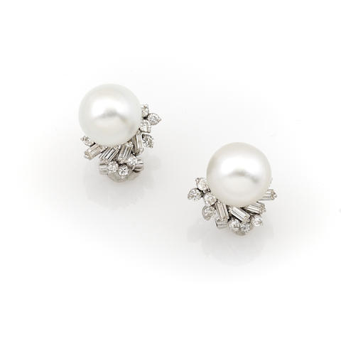 A pair of diamond, cultured pearl and 14k white gold earrings