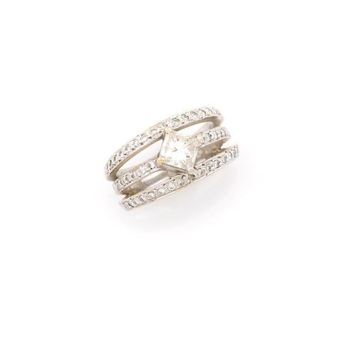 A diamond and 14k white gold ring