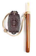 A wood and ivory yatate (portable writing set) Meiji period (late 19th century)