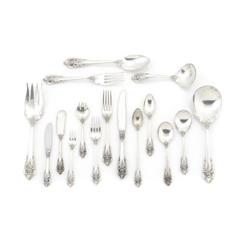 An assembled American  sterling silver  part flatware service by Wallace Silversmiths, Inc., Wallingford, CT, 20th century