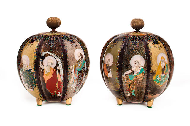 An impressive pair of cloisonné enamel koro (incense burners) Meiji period (late 19th century)