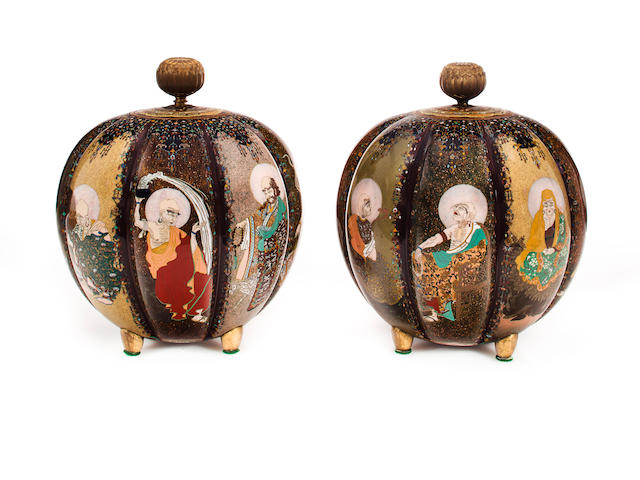 Pair of lobed cloisonne inscense burners with lohans
