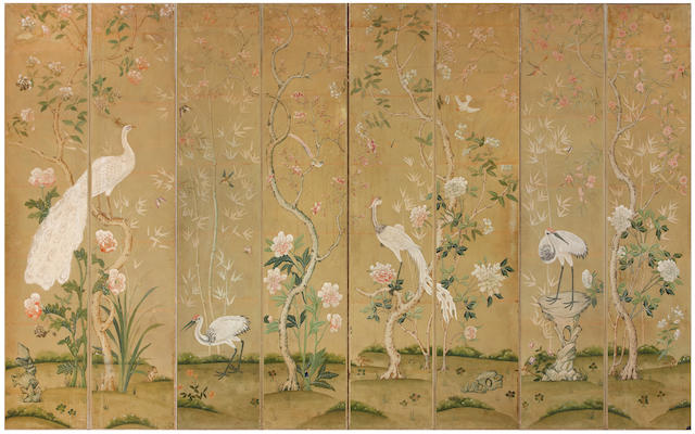 "A pair of Continental four panel painted ""Bird and Flower"" design floor screens, in the Chinese Export taste  first quarter 20th century"