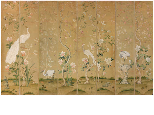 A Chinese painted eight panel wallpaper floor screen depicting birds, cranes, and flowering branches <BR />20th century
